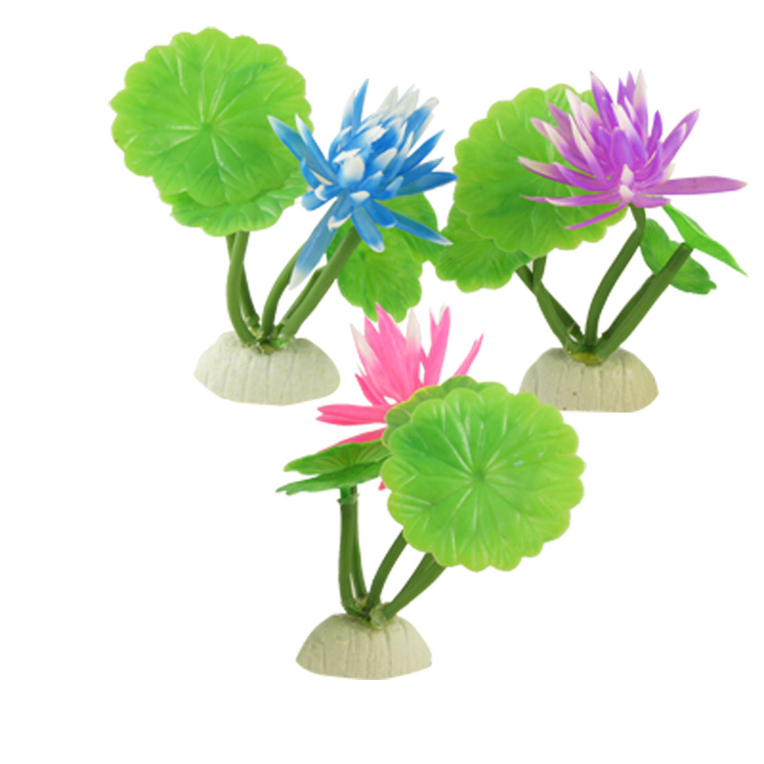 3 Pcs Fish Tank Artificial Red Rose Pink Blue Waterlily Plant w Base