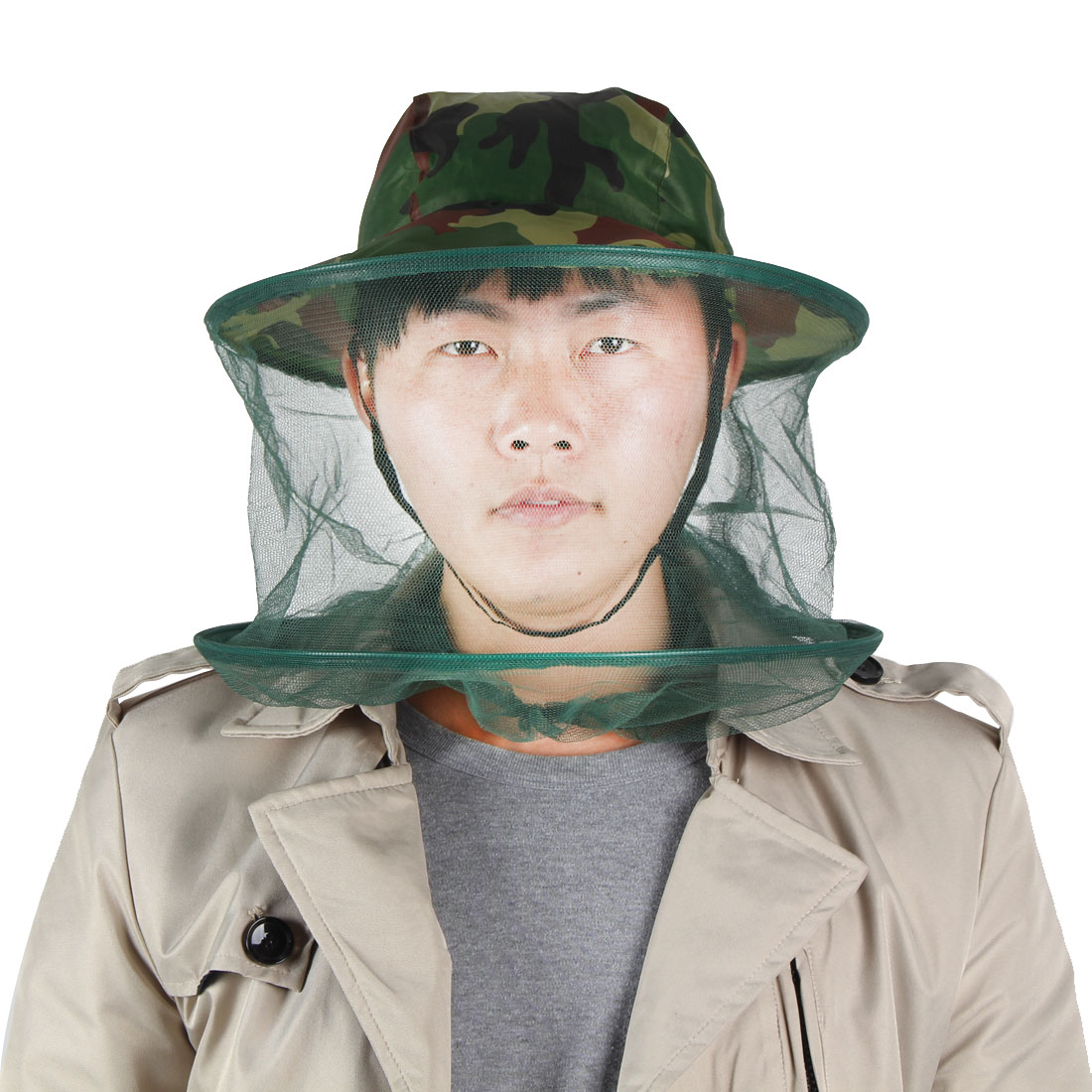 Camouflage Patten Outdoor Fishing Bucket Style Beekeeper Hat Beekeeping Face Mask