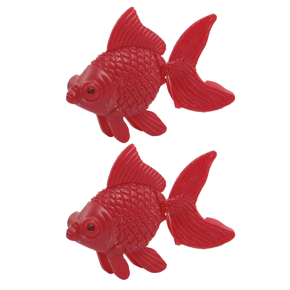 Aquarium Moveable Tail Red Plastic Floating Goldfish 2 Pcs