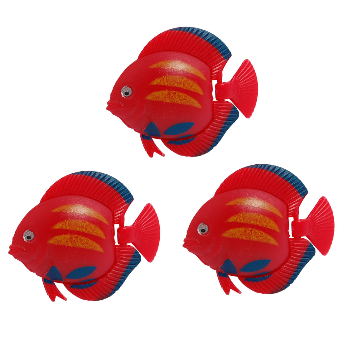3 Pcs Red Plastic Floating Tropical Fish for Aquarium