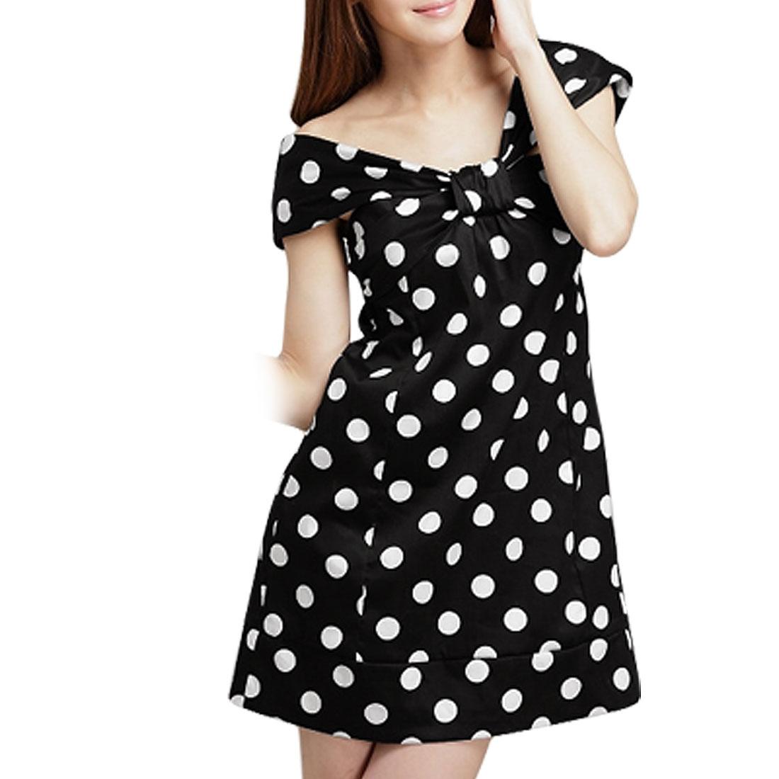Ladies Black Elastic Smocked Back Mini Dotted Dress XS
