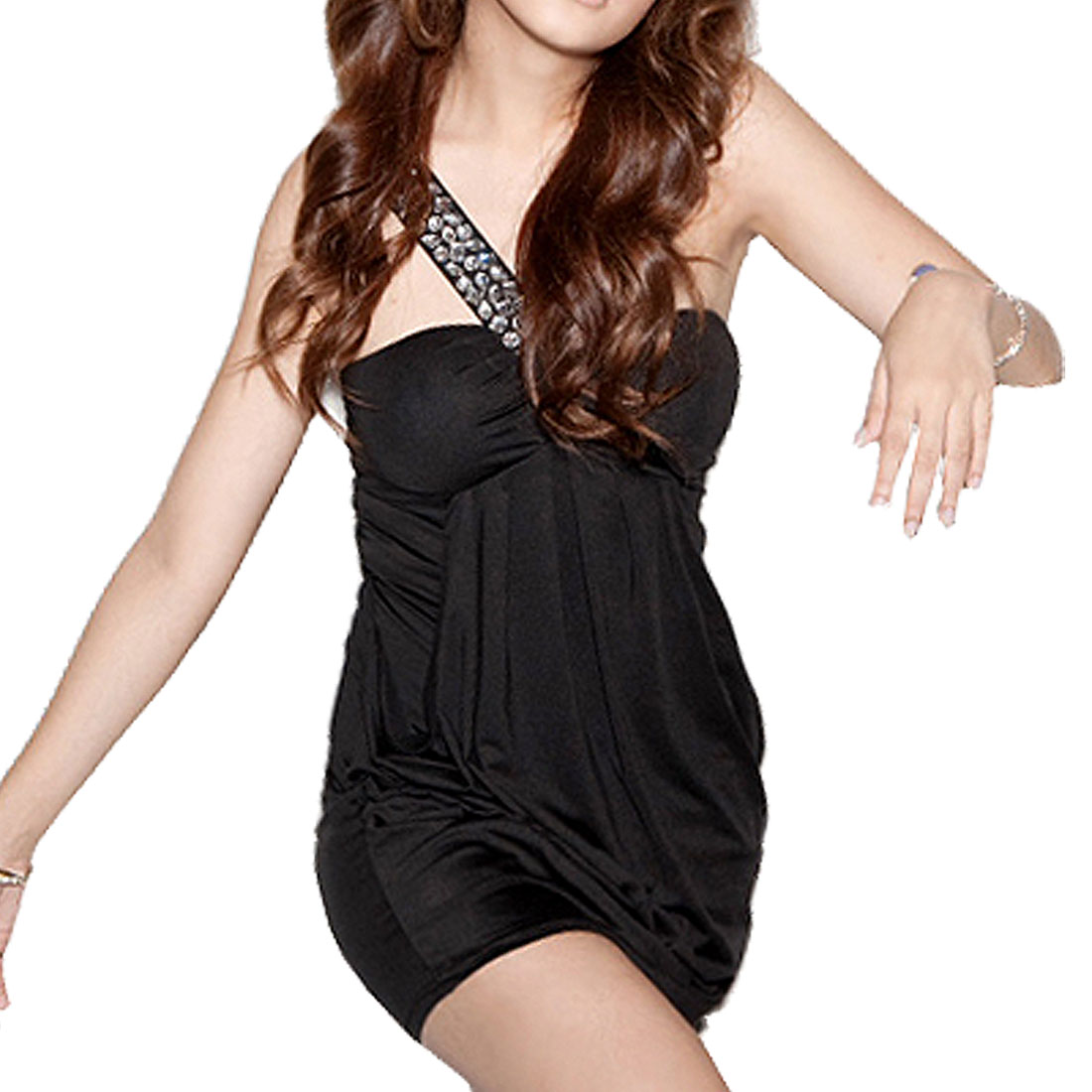 Black Padded Bust Crystal Decor Single Shoulder Strap Mini Dress for Lady XS
