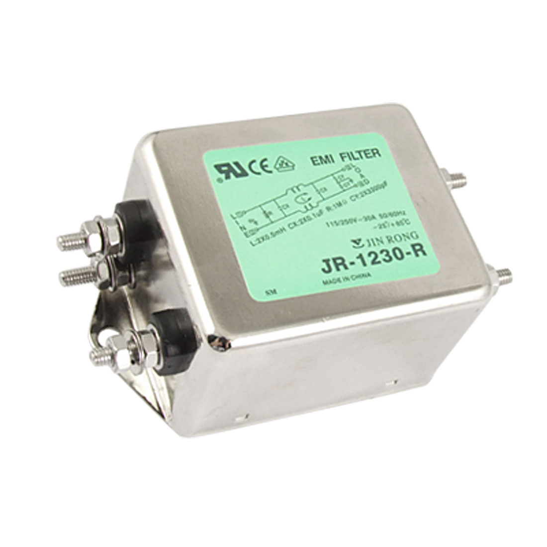 30A Rated Current AC 115/250V JR-1230-R Power Line EMI Filter