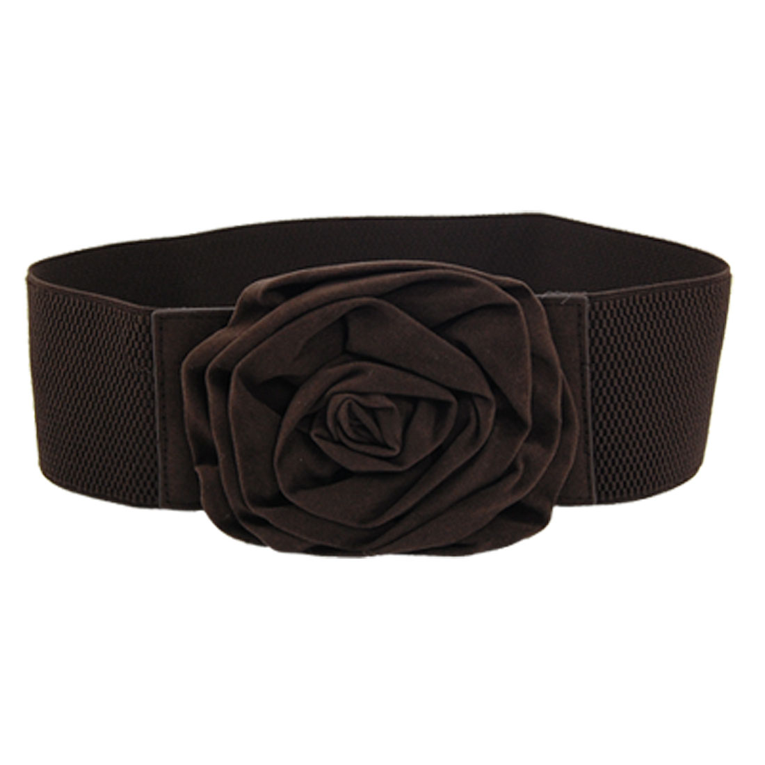Coffee Color Flower Decor Buckle Elastic Waist Belt for Lady