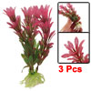 3 Pcs Ceramic Base Artificial Red Green Plants for Fish Tank