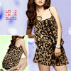Ladies Brown Black Leopard Print Chiffon Mini Strap Dress XS