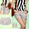 Ladies Gray Cuff Hem Mock Pocket Button Closure Shorts Pants S