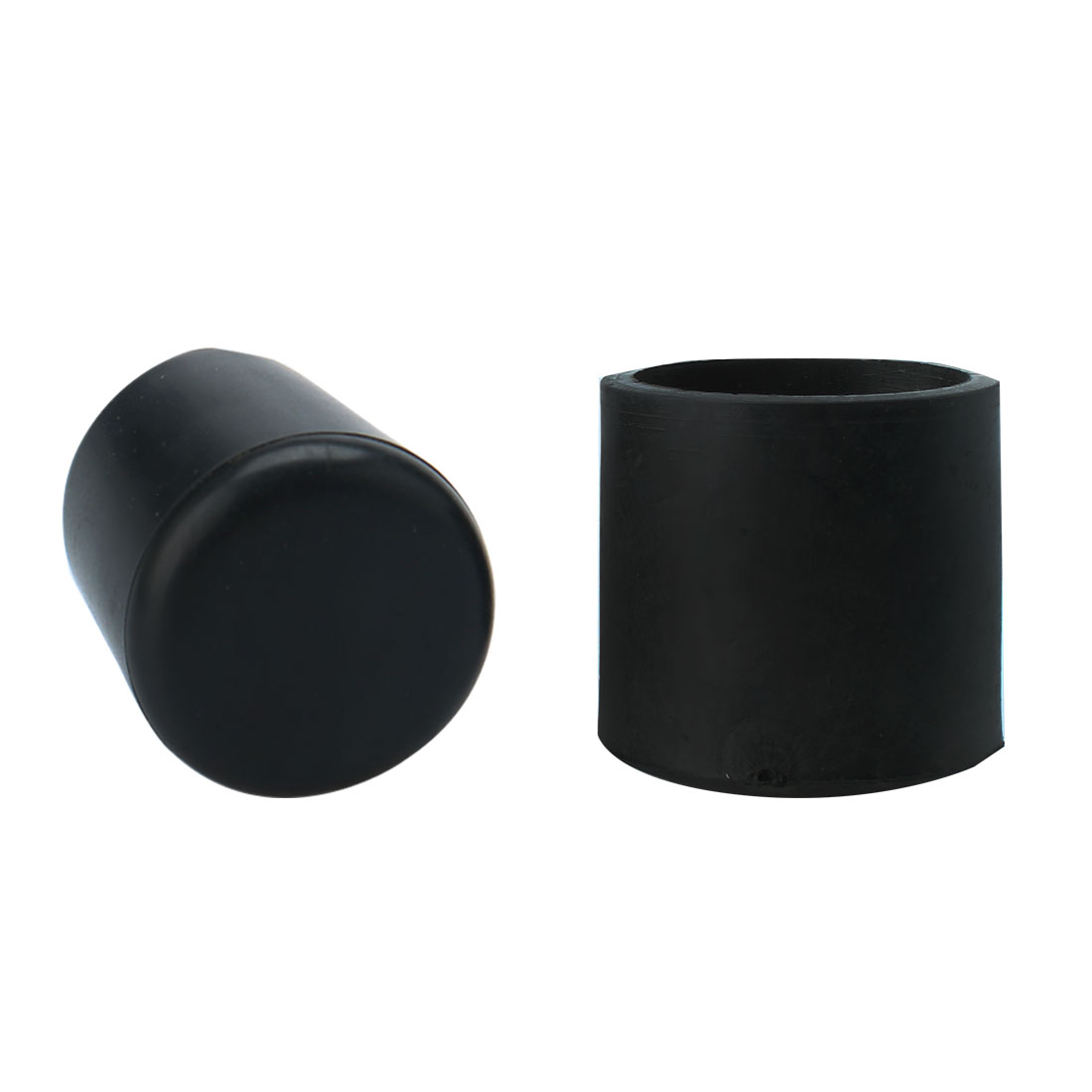 2 Pcs Black Soft Plastic Round Table Chair Foot Cover Cap