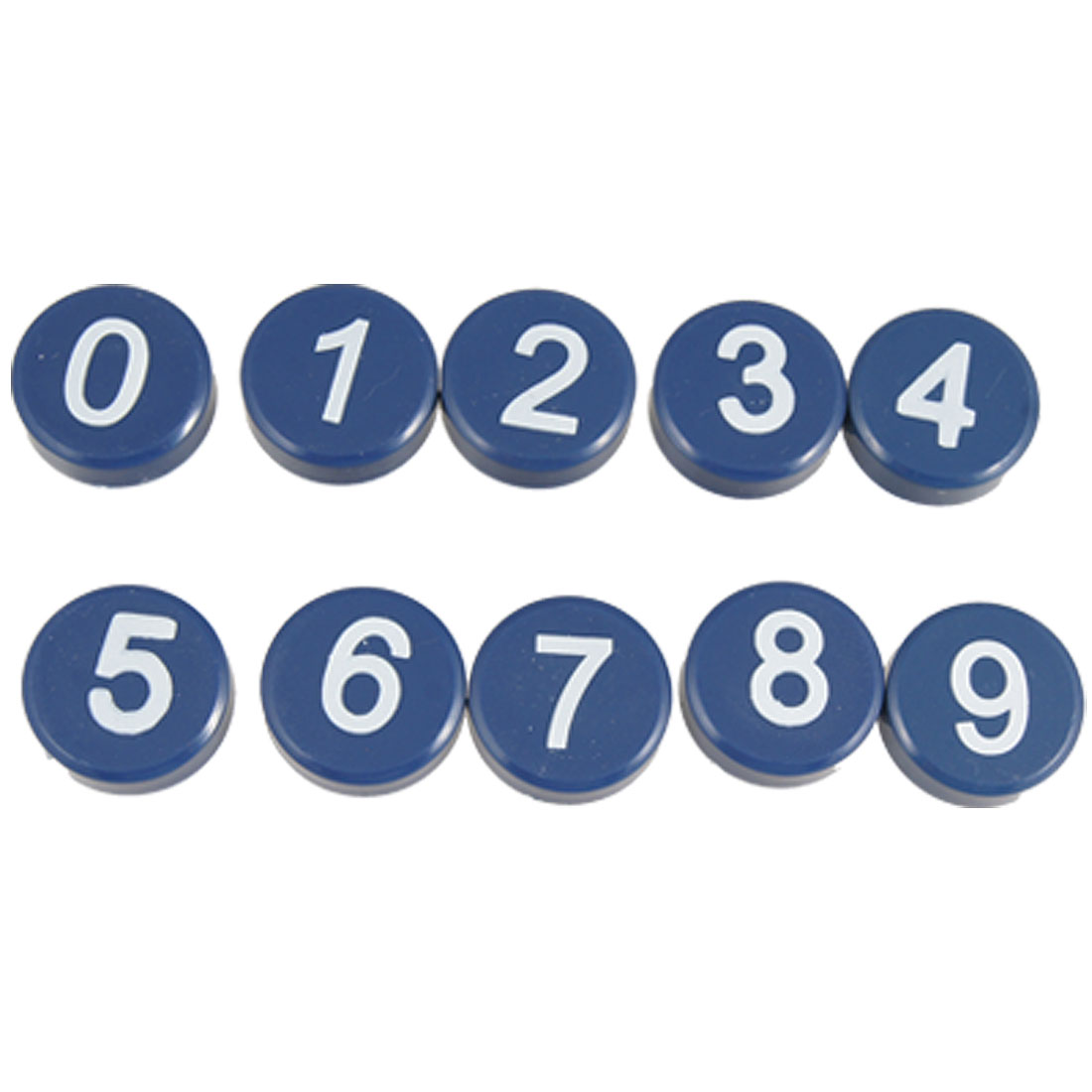 White 0-9 Arabic Number Mark Navy Blue Round Button Magnetic Sticker