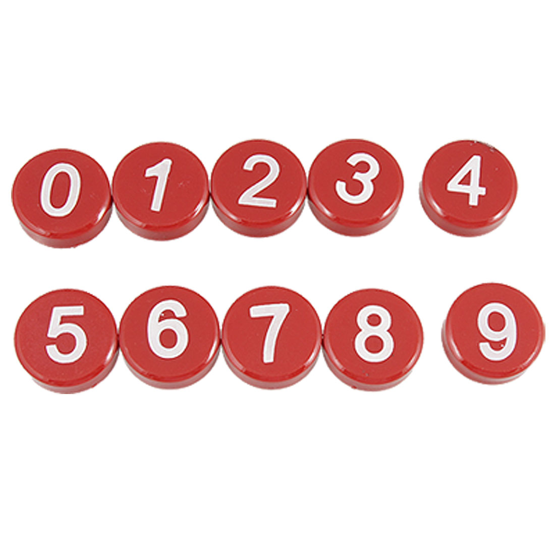 10 Pcs White Arabic Number Red Magnetic Button Sticker Ornament for Fridge
