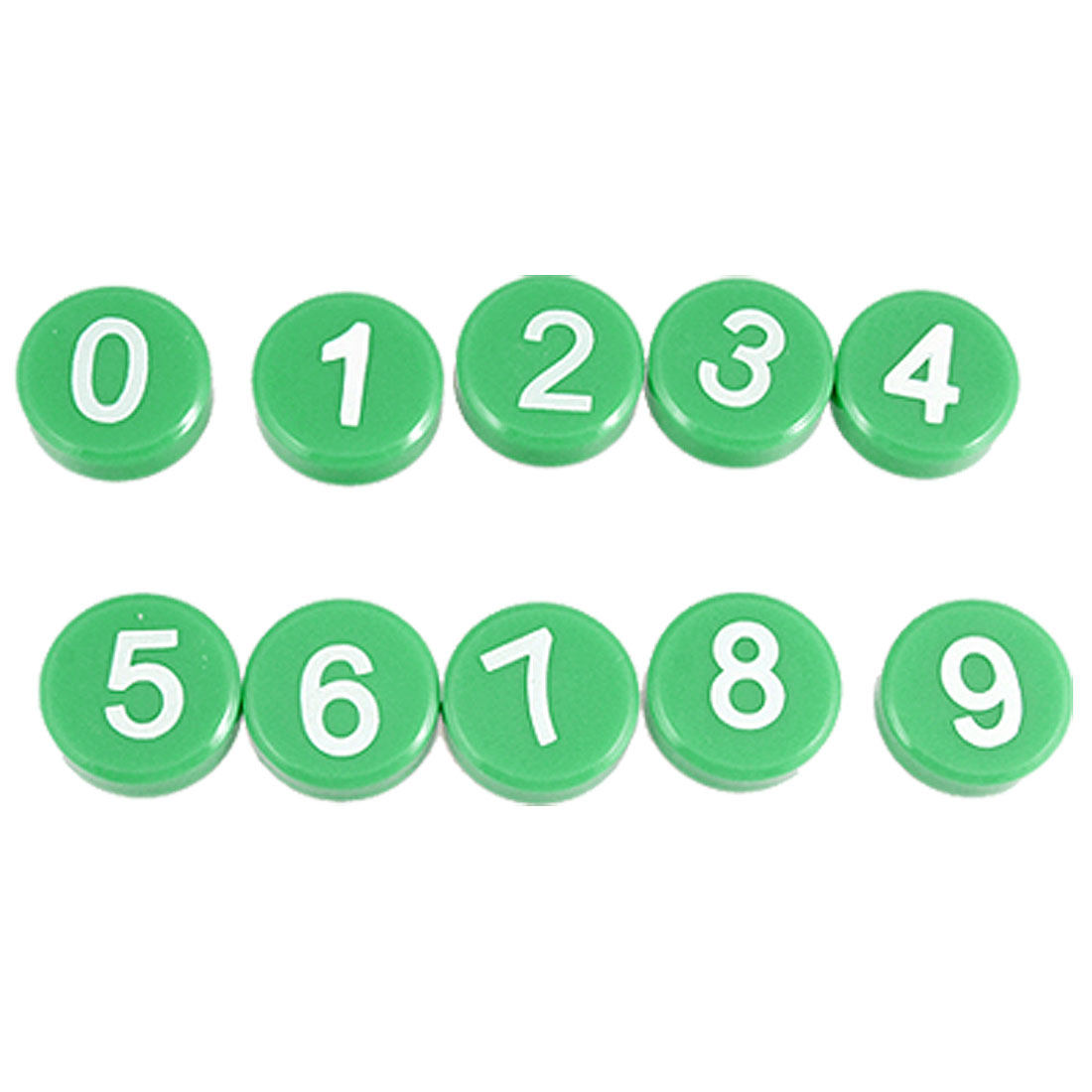 White Arabic Number Green Magnetic Round Button Refrigerator Sticker 10 Pcs