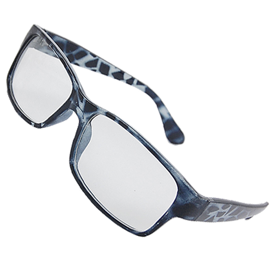 Lady Man Plastic Full Rim Leopard Printed Arms Rectangle Lens Plain Glasses