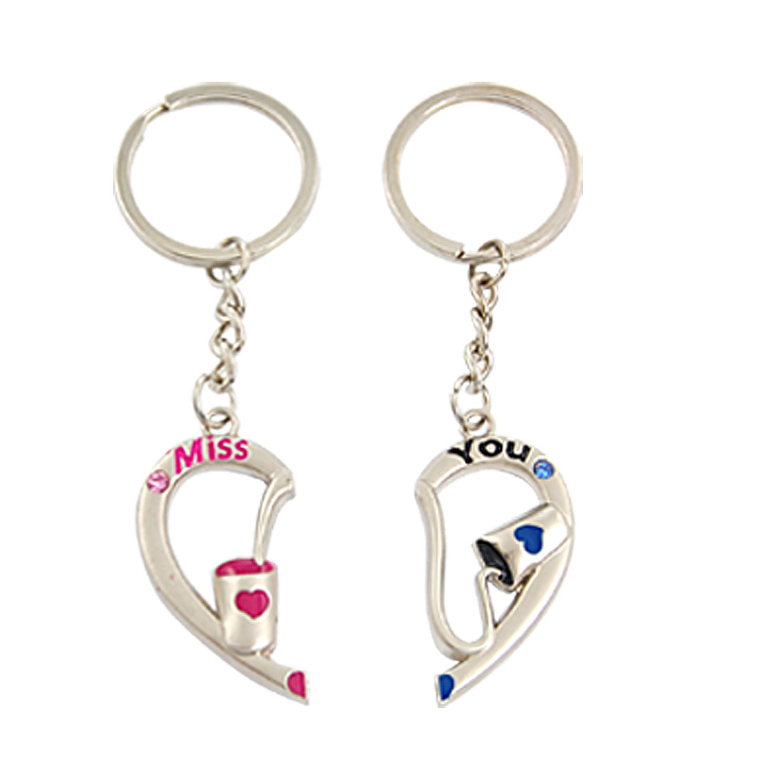 Pair Rhinestones Inlaid Magnetic Divided Heart Pendant Key Ring for Lovers