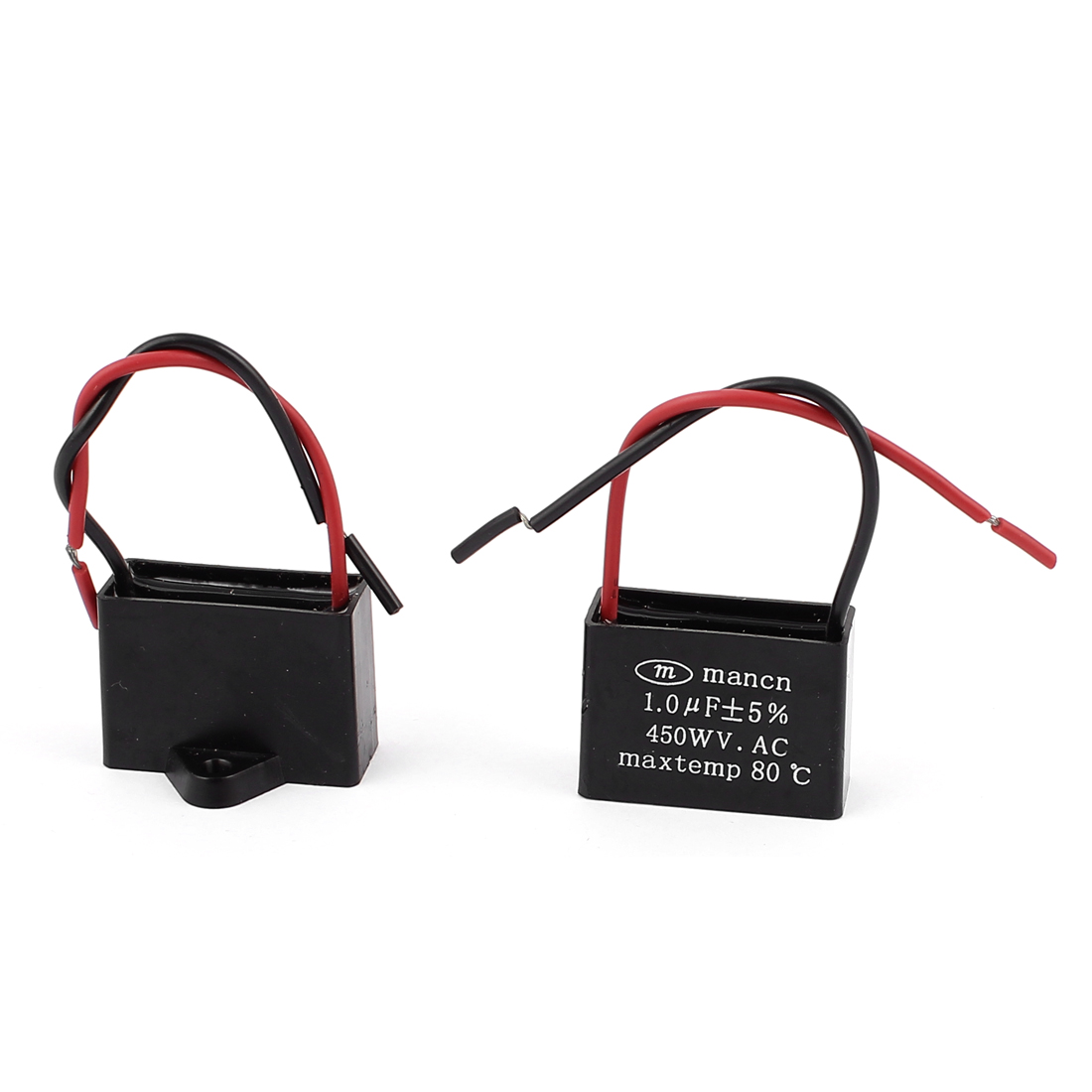 2 Pcs AC Motor Running Metallized Capacitor 1uF Black