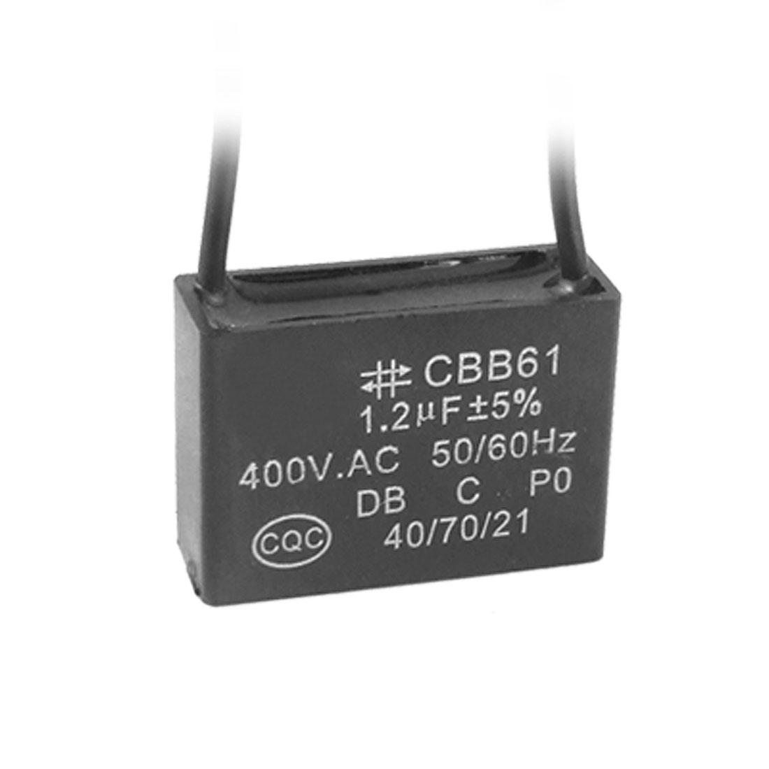 1.2uF Mini Rectangle AC Motor Running Capacitor Black
