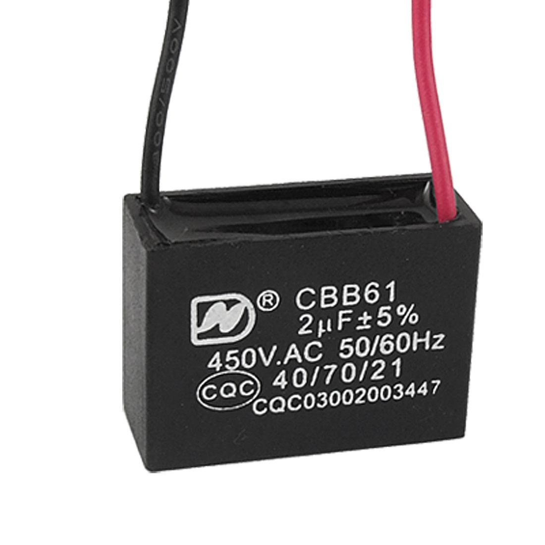Black AC Motor Running Metallized Capacitor 2uF