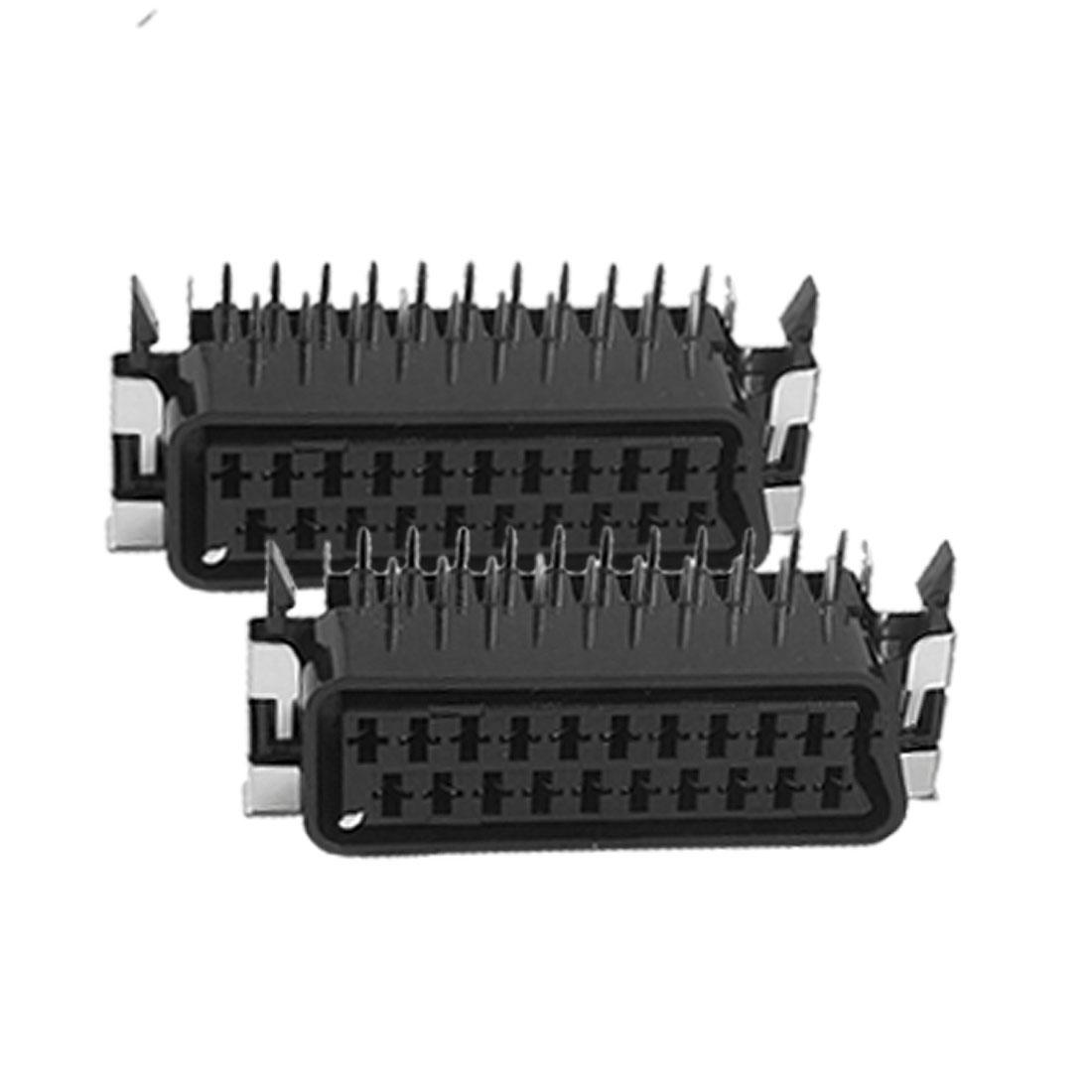 2 Pcs 21 Pins Vertical Type Scart Jack Socket Connector