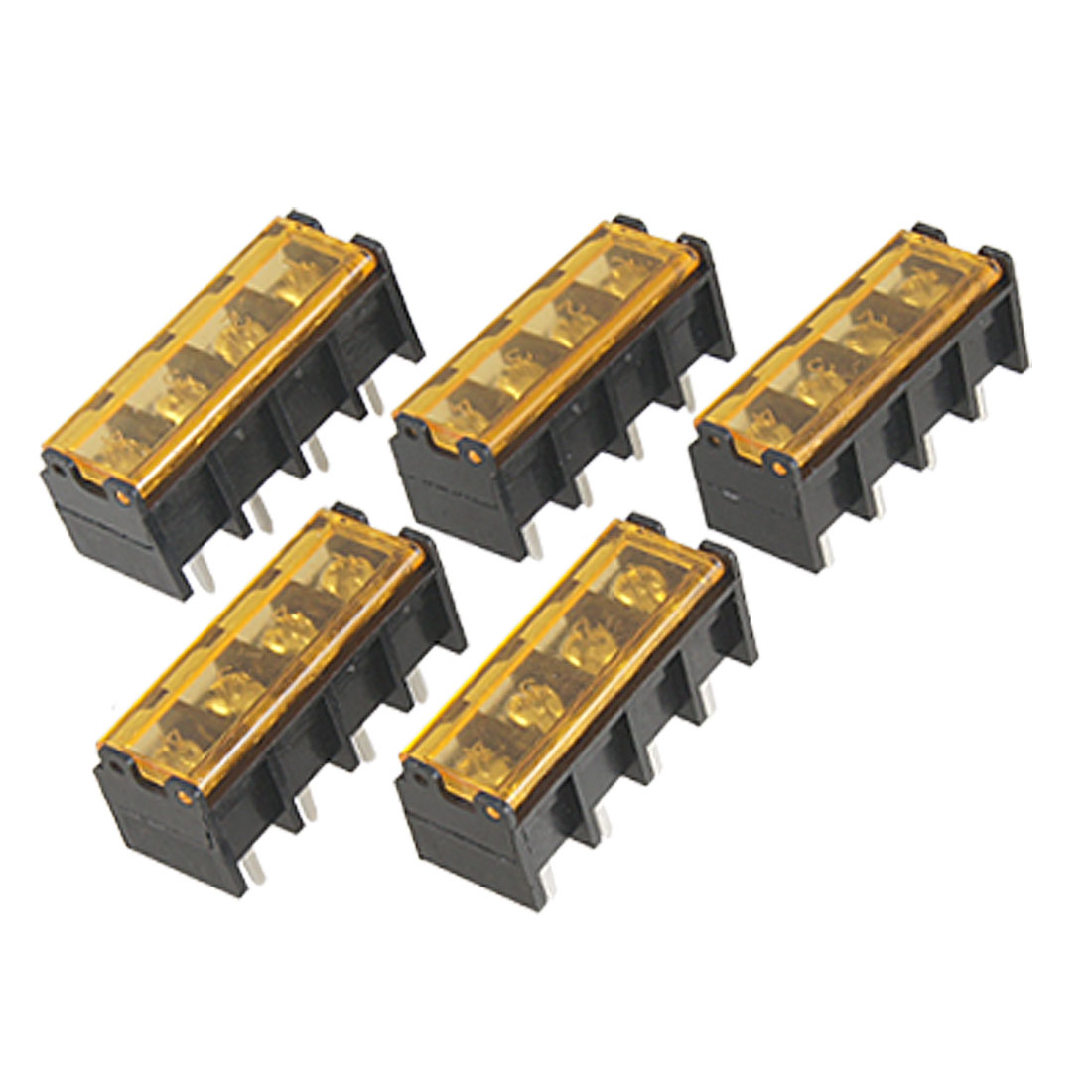 5 Pcs 300V 30A Single Row 4 Postion Covered Screw Terminal Strip