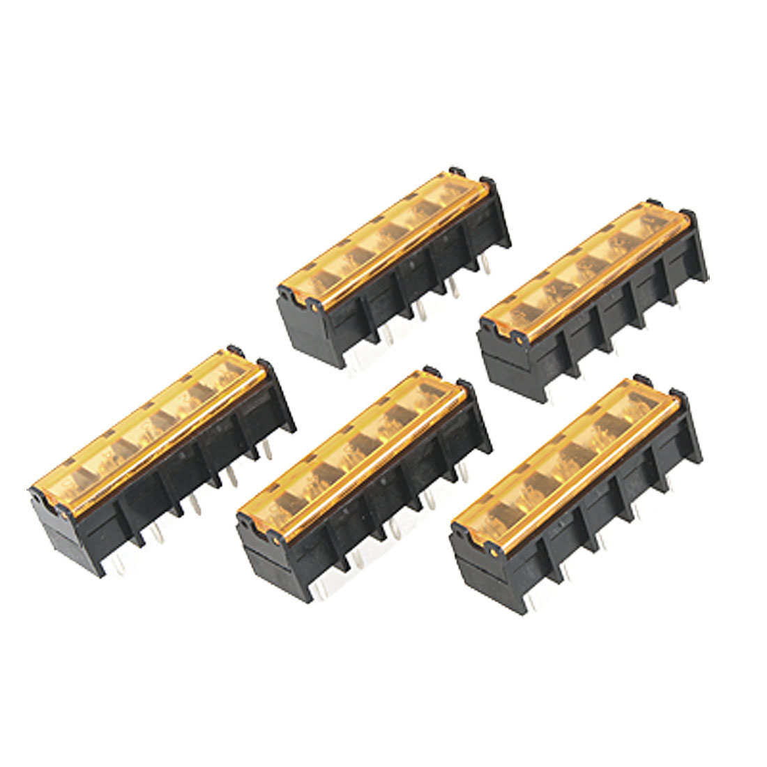 300V 30A 5 Pin Position Covererd Screw Barrier Terminal Block 5 Pcs