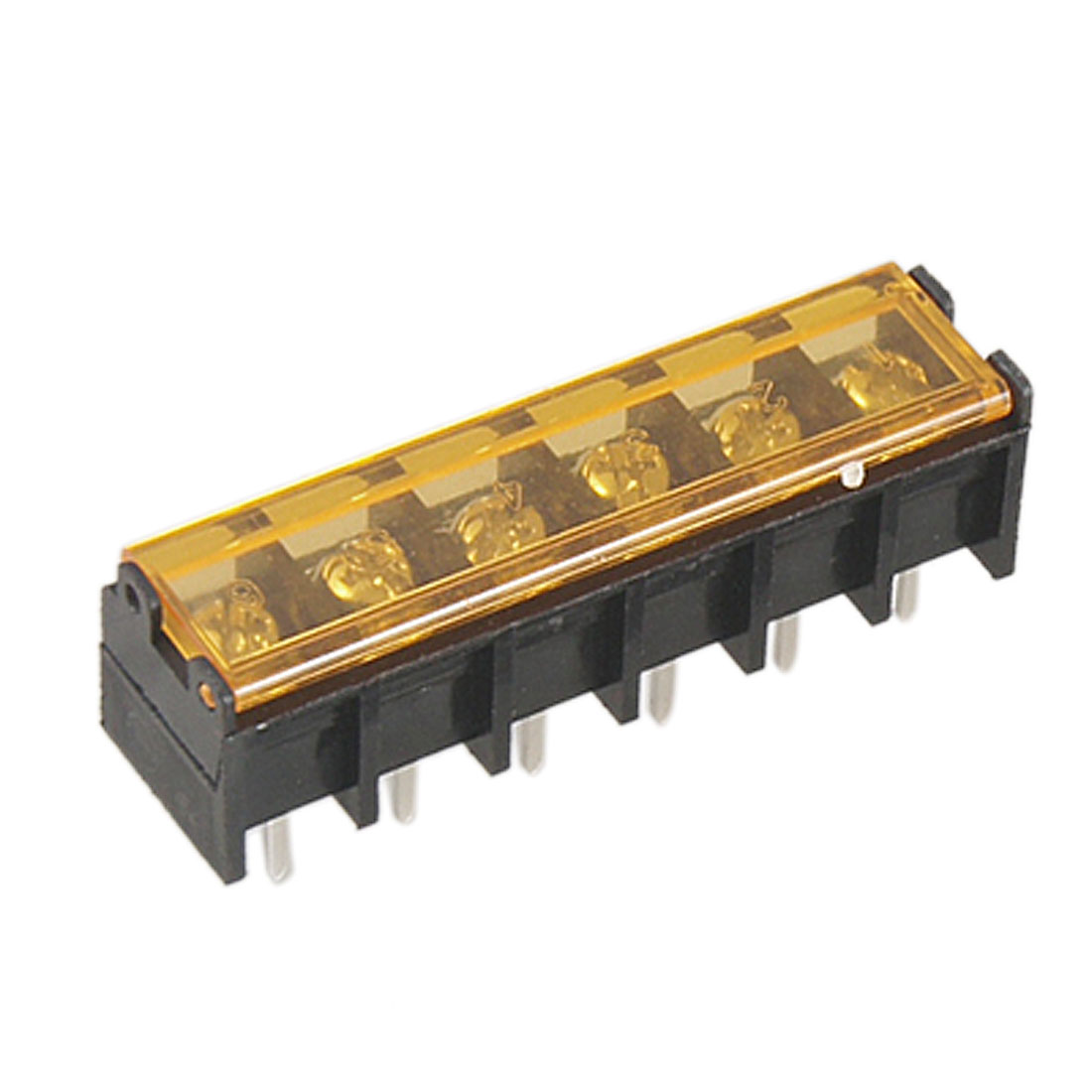 300V 30A Single Row 6 Positions Covered Barrier Terminal Block 5 Pcs