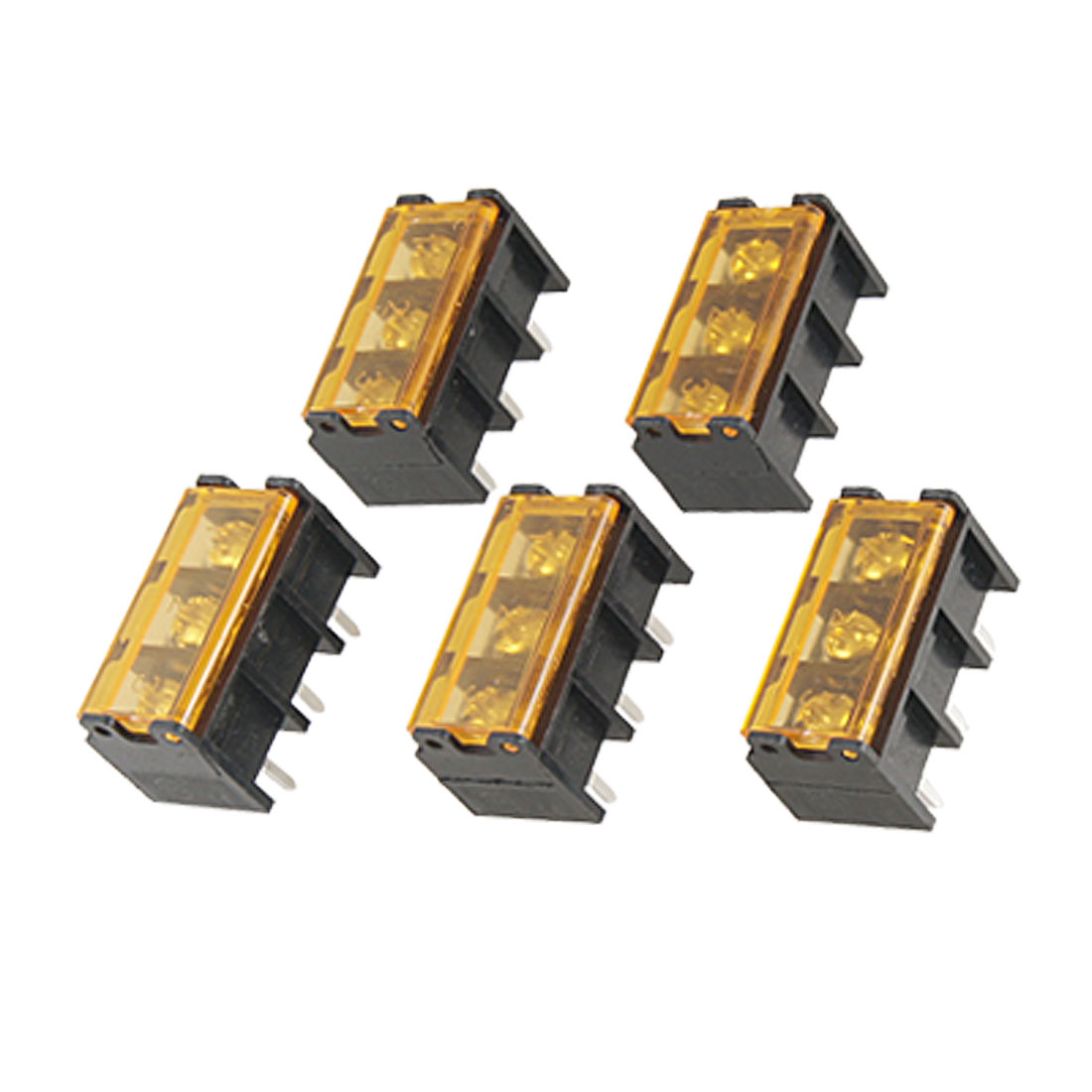 5 Pcs 3 Position Covered Screw Barrier Terminal Strip Block 300V 30A