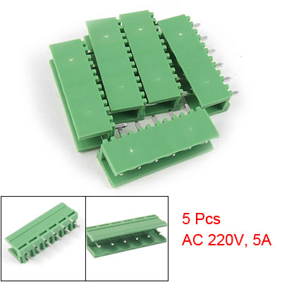 5 Pcs 5.08mm Pitch Straight Pin 6P Pluggable PCB Terminal Block