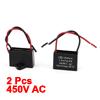2 Pcs AC Motor Running Metallized Capacitor 1uF Black