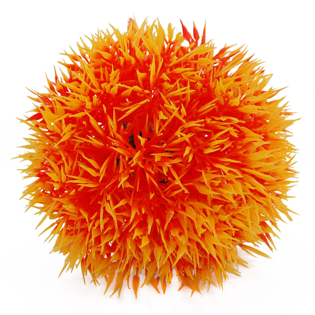 Yellow Orange Round Shaped Plastic Grass Ornament for Fish Tank