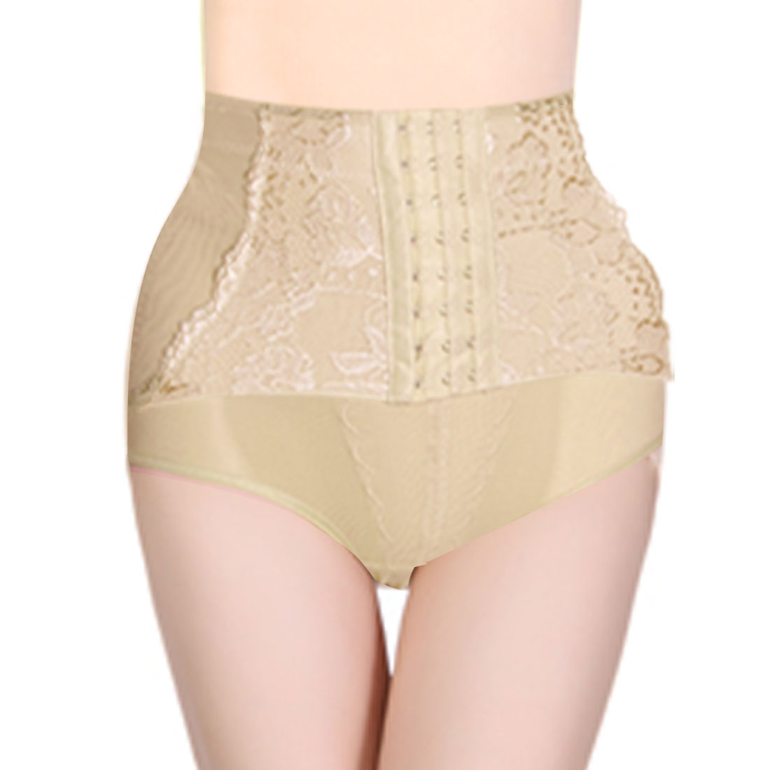 Lady Beige Eye Hook Closure Waist Trimmer Shapewear Brief L