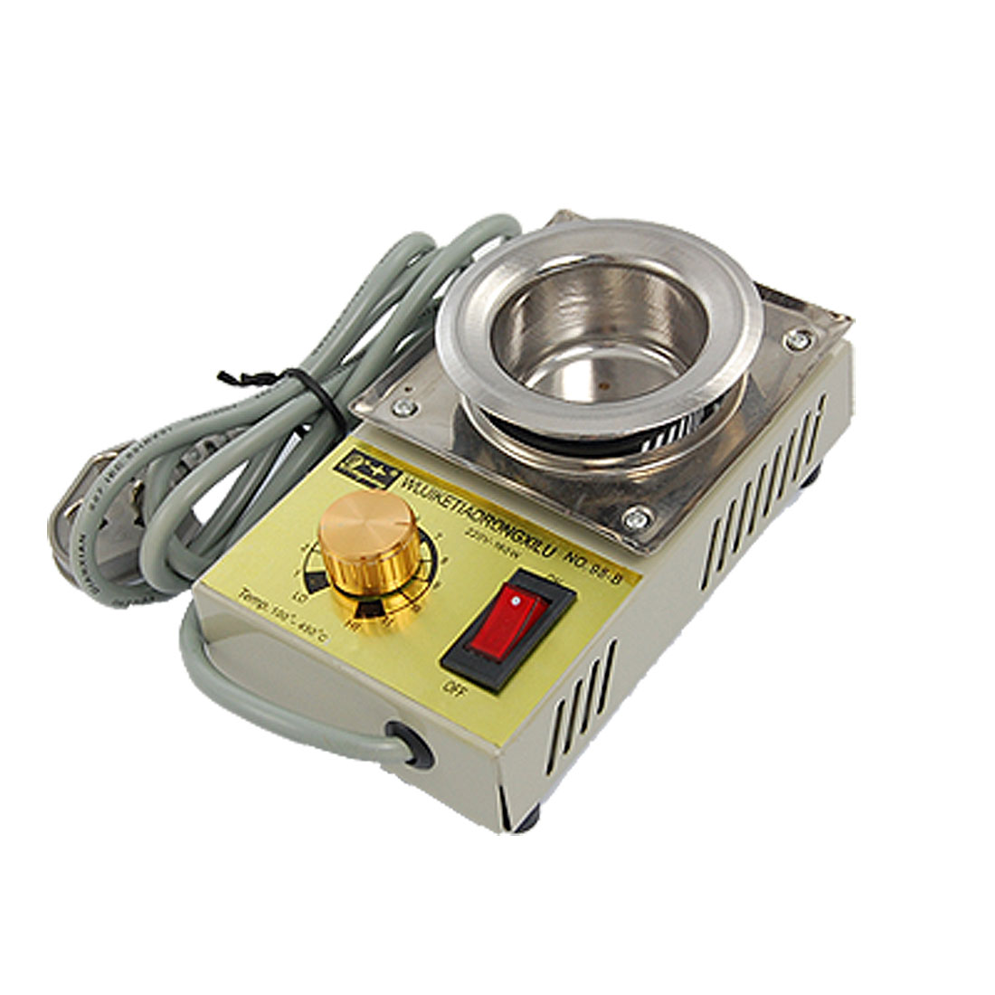 US Plug AC 220V 160W Temperature Adjustable Stainless Steel Solder Pot Tin Furnace