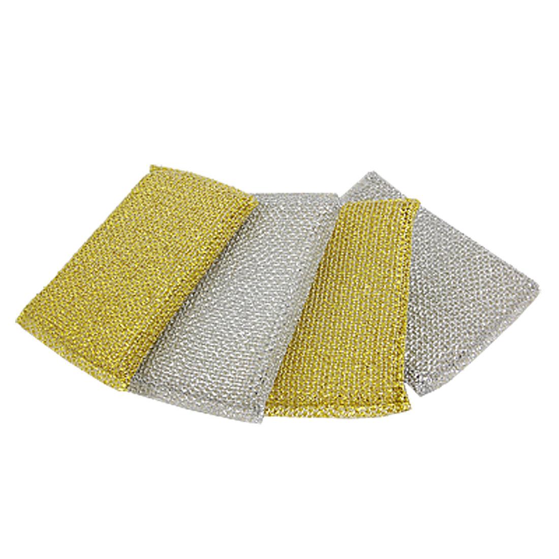 4 Pcs Dish Bowl Cleaning Metallic Thread Sponge Scrubing Pad Gold Tone Silver Tone