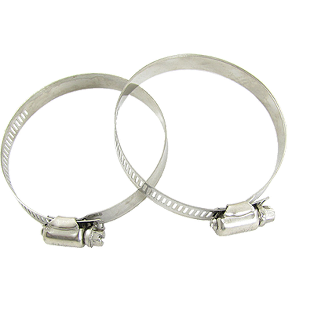 2 Pcs Assortment Alloy Silver Tone 60-83mm Hose Clamps