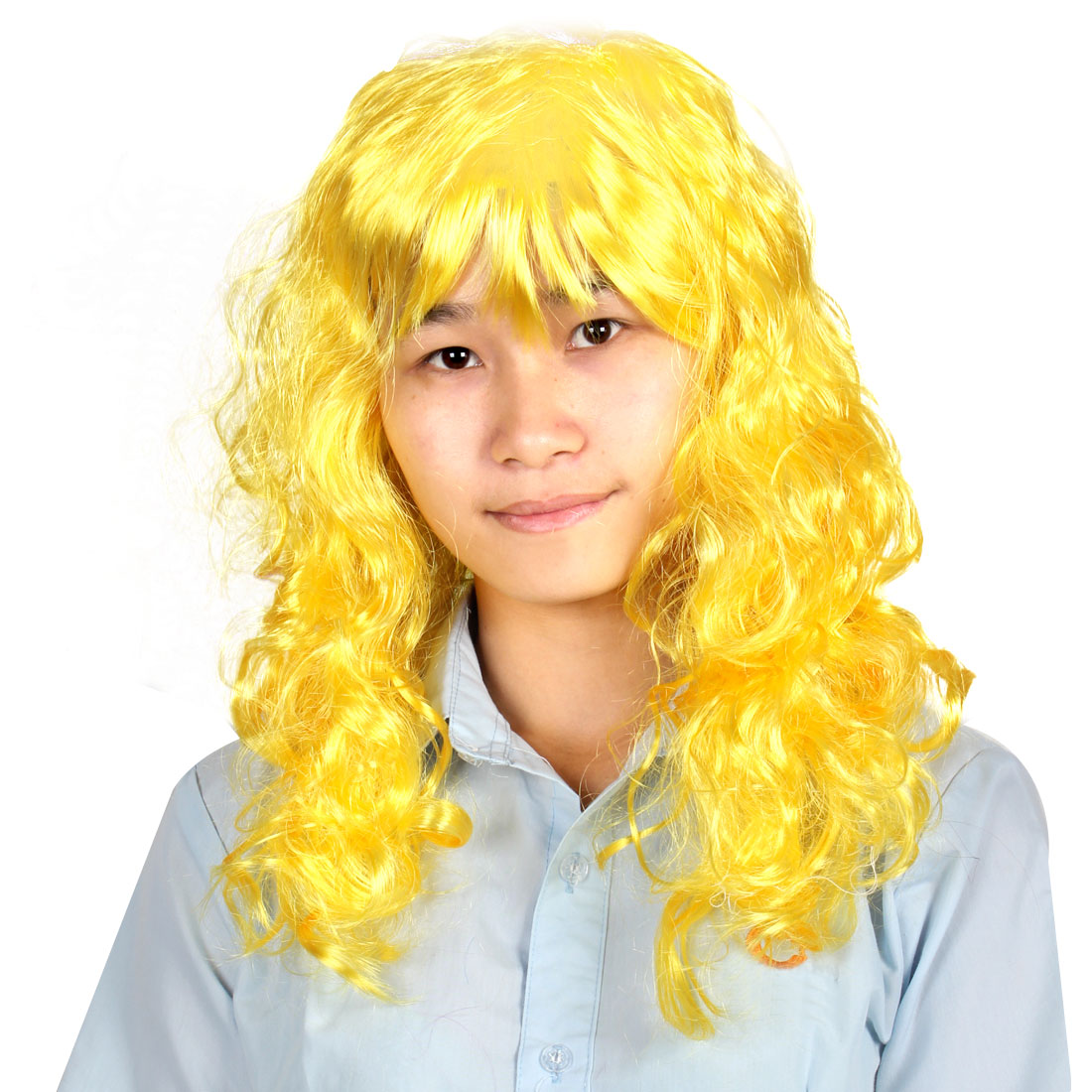 Doll Style Curly Long Faux Hair Cosplay Yellow Synthetic Fiber Full Wig