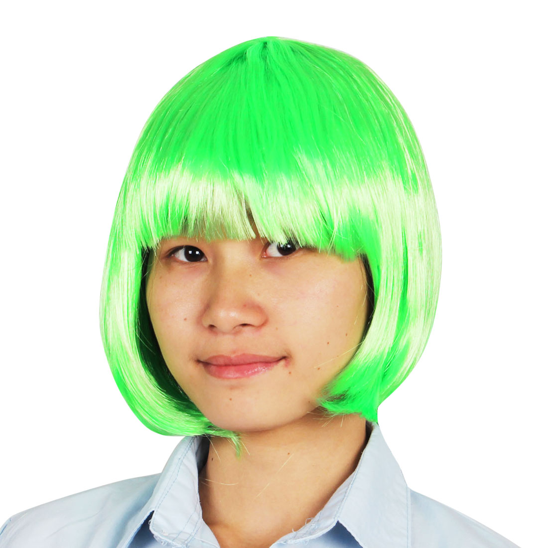 Flat Fringe Style Straight Faux Hair Party Costume Wiggery Green