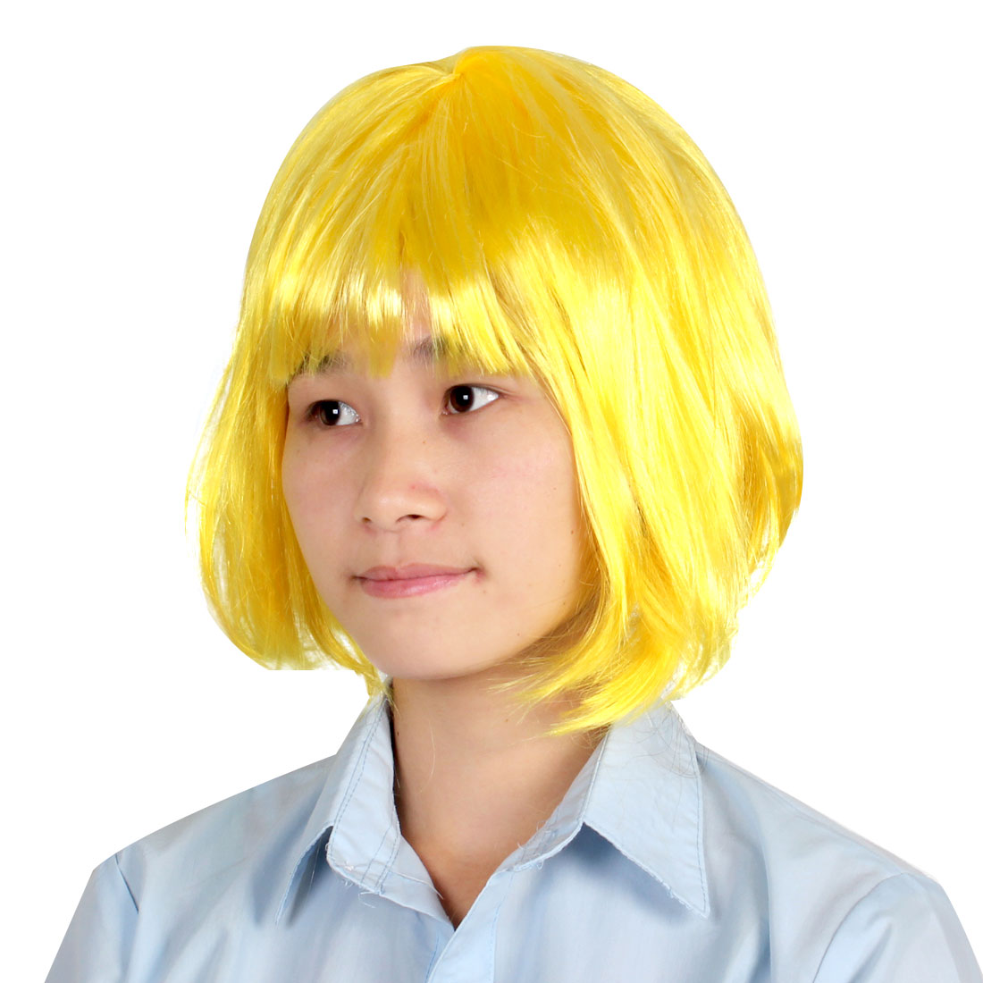 Women Party Cospaly Hair Style Costume Short Straight Full Wiggery Yellow