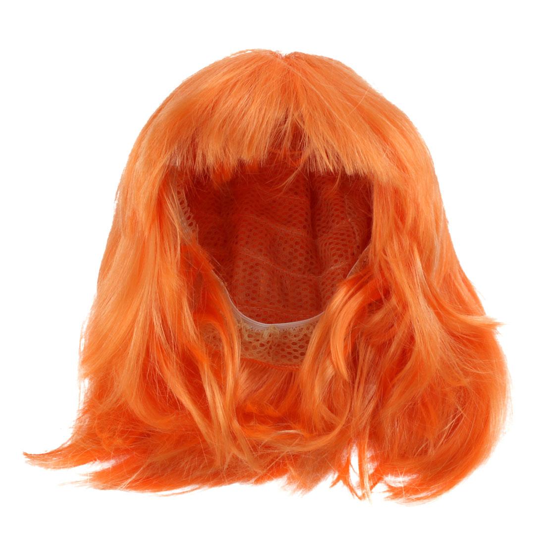 Full Fringe Short Hairstyle Party Cosplay Orange Full Wig