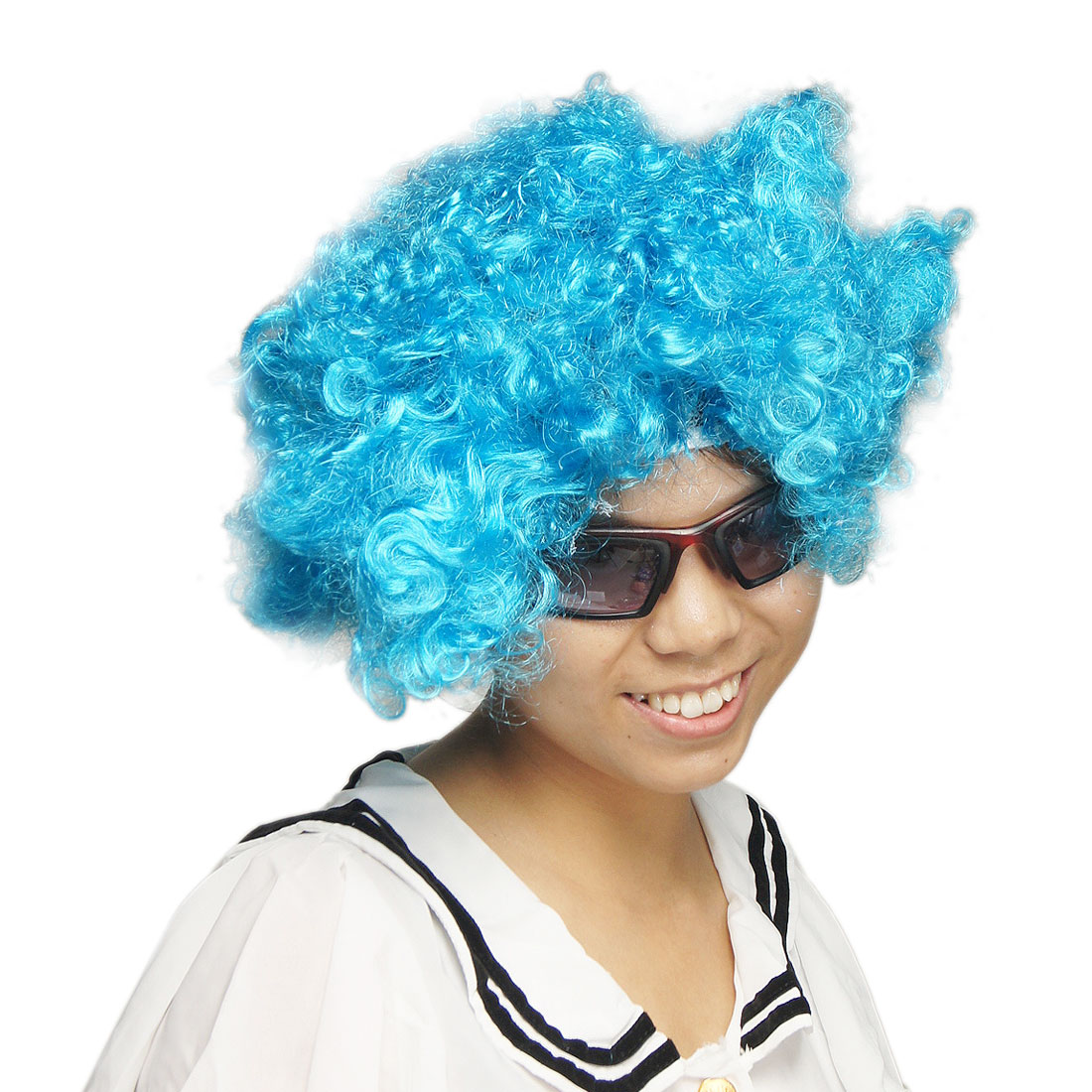 Curly Style Blue Synthetic Fiber Fake Hair Short Clown Wig