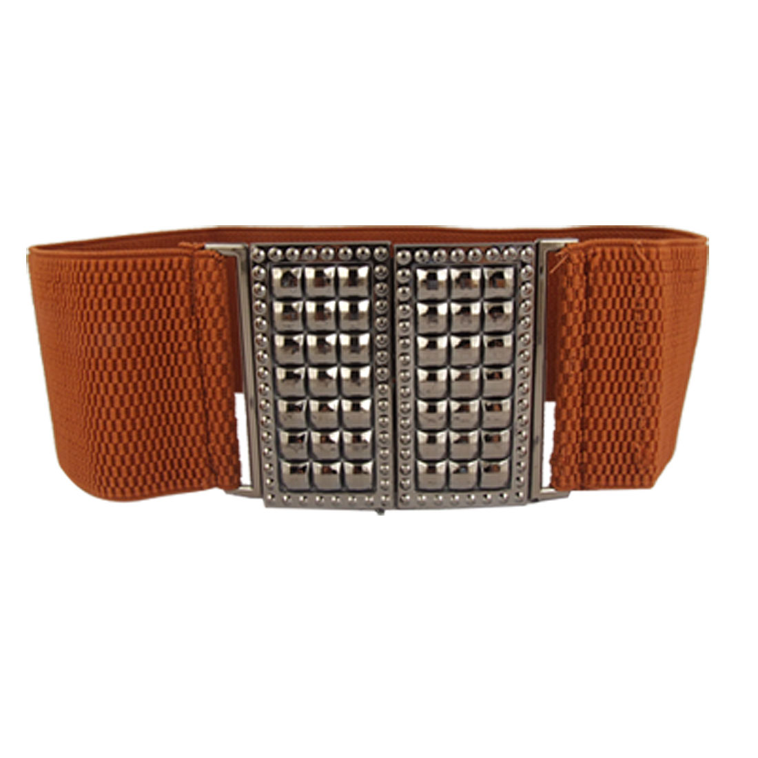 Interlock Closure Textured Brown Band Waist Belt for Lady