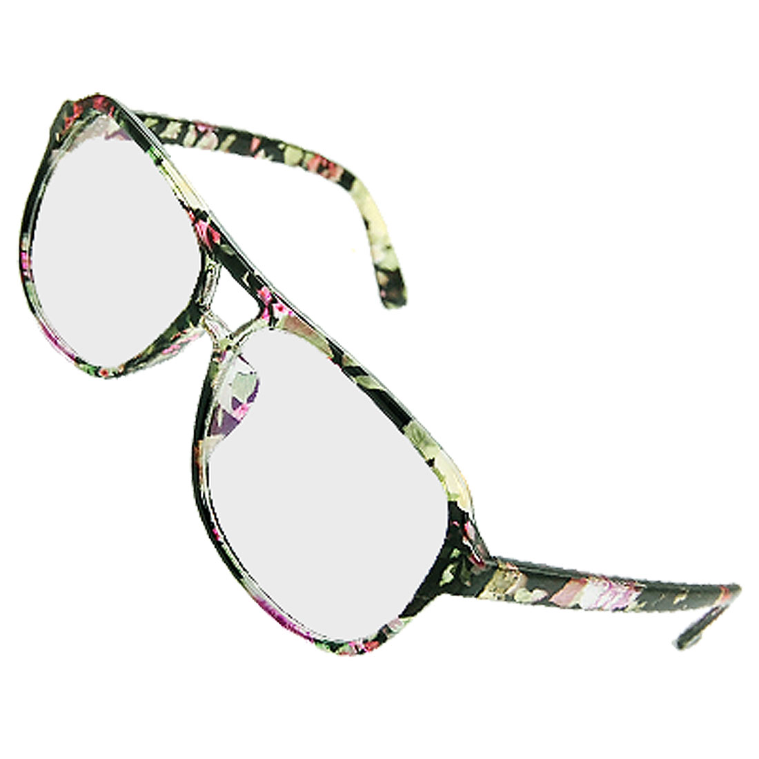 Floral Printed Big Multi-coated Lens Plano Glasses for Ladies