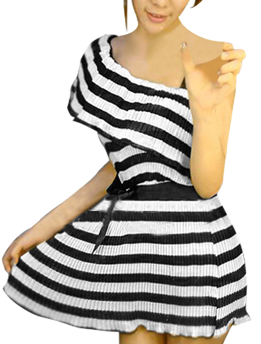 Lady Black White Stripe Accordion Pleats Single Shoulder Dress XS