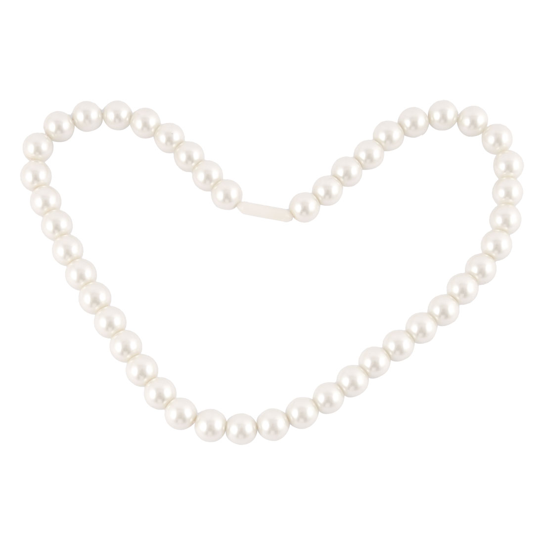 Ladies Manmade Faux Pearl Princess Necklace White w Plastic Screw Clasp