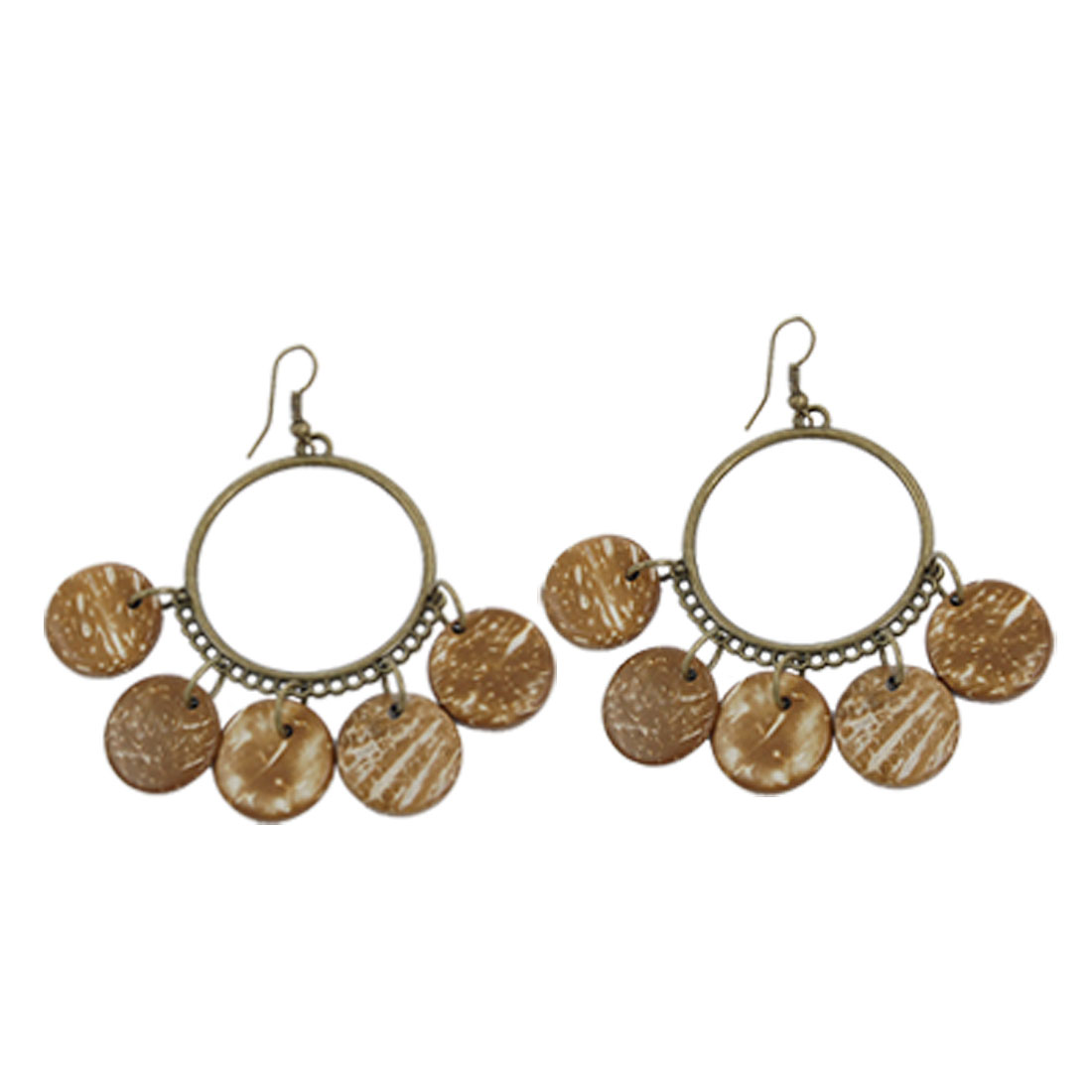 Lady Dangling Brown Beans Decor Round Loop Fish Hook Earrings