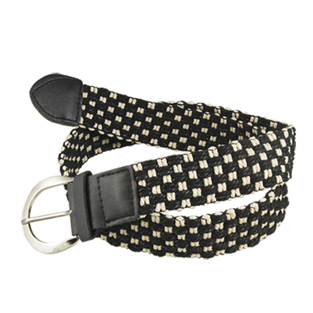 Ladies Metal Single Pin Buckle White Black Weave Check Belt