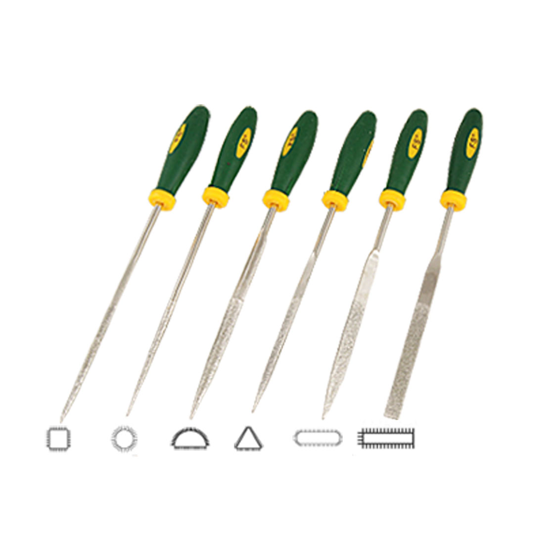6 Pcs Diamond Rock Filing Tool Set Round Triangle Needle Files Set
