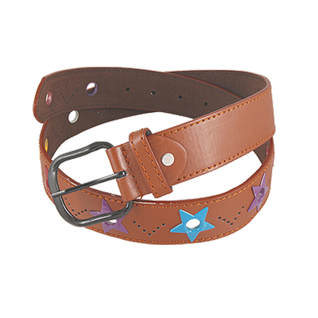 Ladies Colorful Star Detail Brown Faux Leather Adjustable Belt