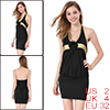 Lady Black Gold Tone Trim Hip-Hugging Halter Mini Dress XS