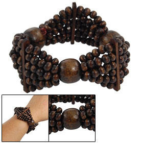 Ladies Coffee Wooden Beaded Multi String Triangle Style Bracelet