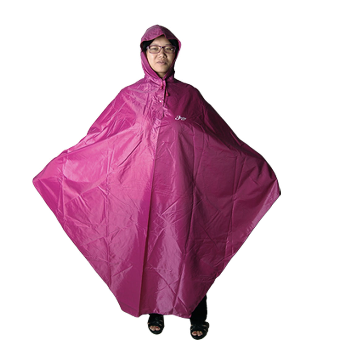 Adults Bicycle Raincoat Seams Sealed Fuchsia Terylene Hooded Poncho