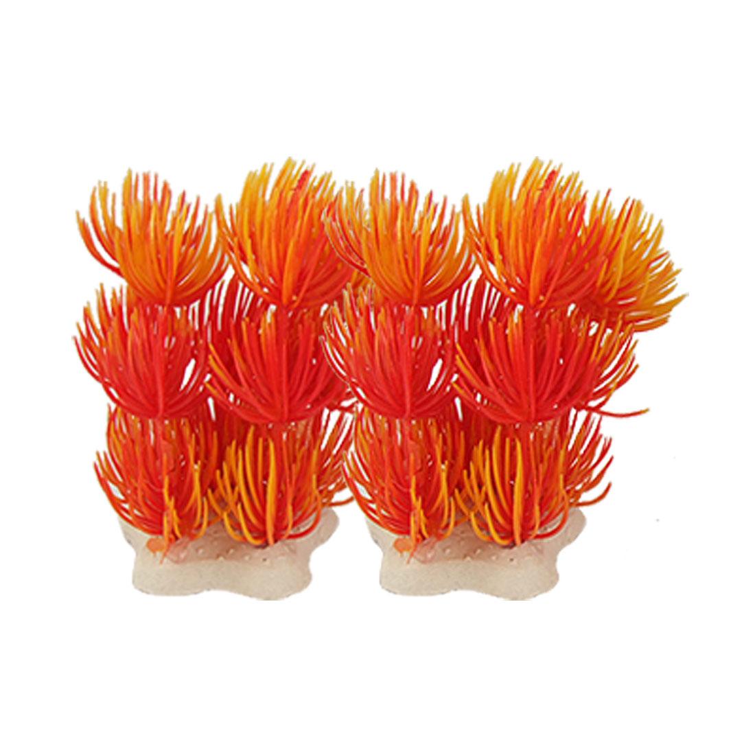 Seastar Shaped Base Orange Red Plastic Grass 2 Pcs for Fish Tank