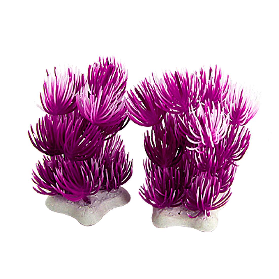 Purple White Plastic 2 Pcs Plastic Plants Decor for Fish Tank